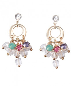 Multi-Stones Golden Base Earrings