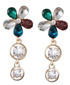 Multicolor Rhinestone Flower Shaped Earrings