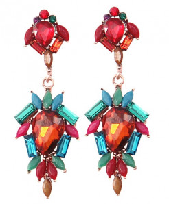 Multicolor Rhinestone Long Earrings