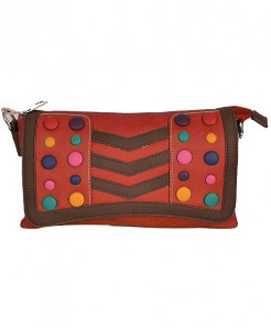 Red Based Clutch With Multicolored Buttons