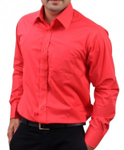 Red Full Sleeve Plain Formal Shirt