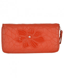 Skype Orange Flower Pattern Ladies Clutch