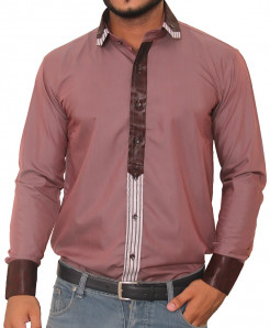 Tanzaib Decent Brown Canny Button Line Cuff Designer Shirt