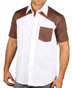 White And Brown Two Tone Short Sleeve Designer Shirt
