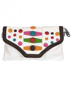 White Based Clutch With Multicolored Buttons In Brown Border