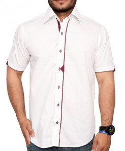 White Short Sleeve Designer Shirt With Maroon Placket
