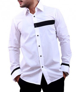 White Two Tone Designer Shirt With Black Patch