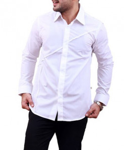 White Unique Stripes Designer Shirt-3521