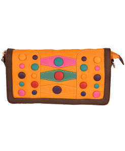 Yellow Based Clutch With Multicolored Buttons In Brown Border