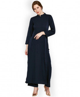 Navy Blue Crew Neck A Line Style Ladies Kurti ALK-185