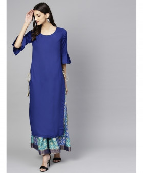 Royal Blue Side Laces Style Ladies Kurti ALK-197