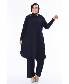 Navy Blue Button Tunic Style 2Piece Linen Suit FLK-467