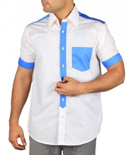 White Two Tone Short Sleeve Shirt