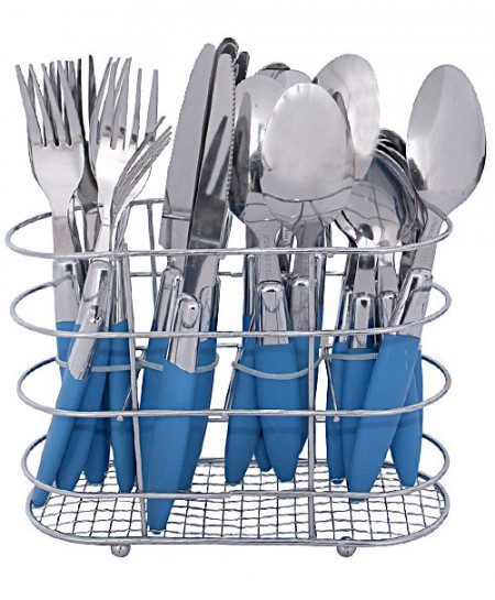 Blue Plastic Handle Cutlery Set 24 Pieces Art-318107