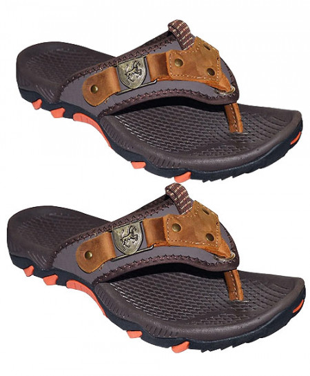 2X Brown Flip Flop Front Leather Patch Casual Slipper SN-1438