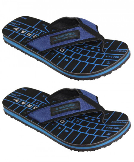 2X Black Blue Keyboard Print Flip Flop Slipper SN-1318