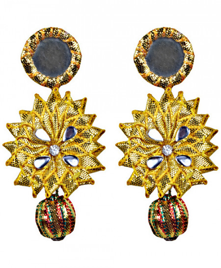 Golden Big Star With Small Round Mirror Handmade Earring