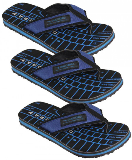 3X Black Blue Keyboard Print Flip Flop Slipper SN-1318