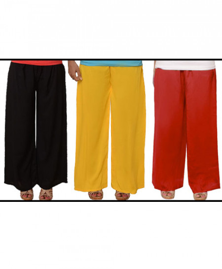 3x Plain Plazzo Trouser