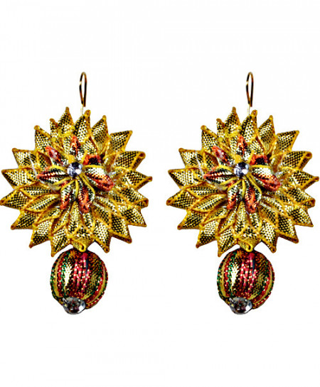 Golden Big Star With Multi Color Bead Handmade Earring