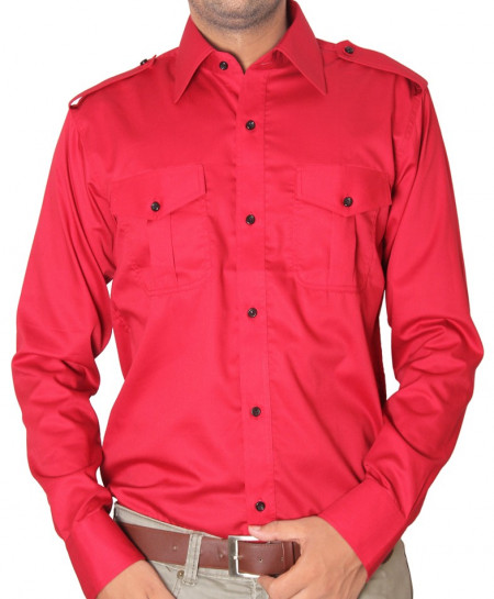 Red Double Pocket Designer Shirt