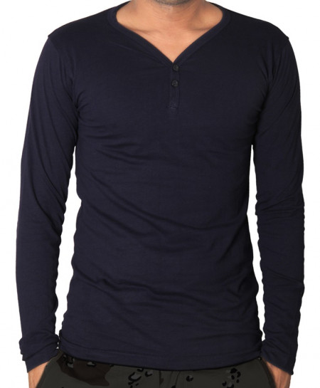 Navy Blue V-Neck Modern Style T-Shirt QZS-970