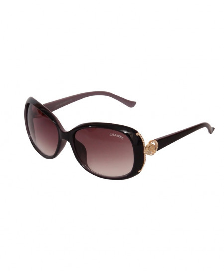 Ch Stylish Burgundy Shaded Sunglasses With Golden Details 1247