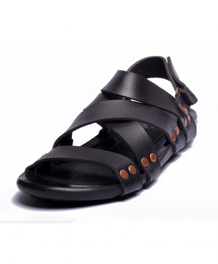 Black Cross Strap Casual Sandal LS-149
