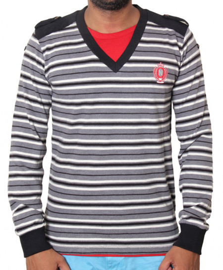 Black Striped Full Sleeve Sweat Shirt