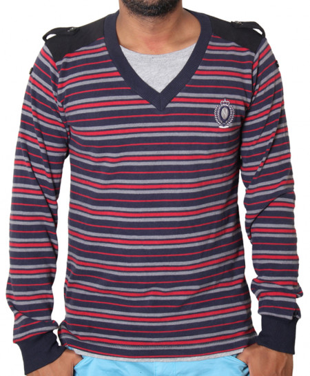 Maroon Striped Full Sleeve Sweat Shirt