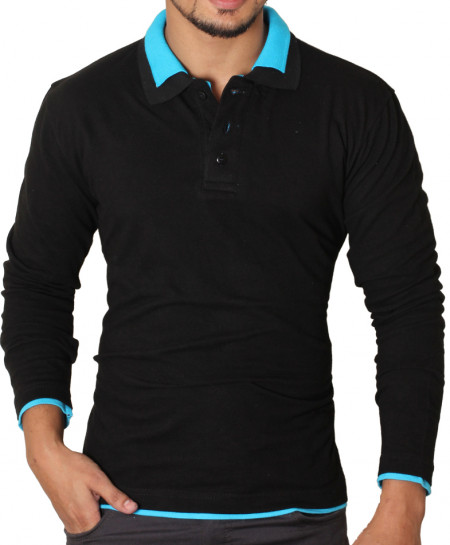 Black Double Collar Full Sleeve Polo Shirt