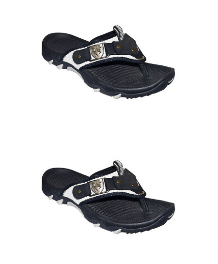 2X Black Flip Flop Front Leather Patch Casual Slipper SN-1439