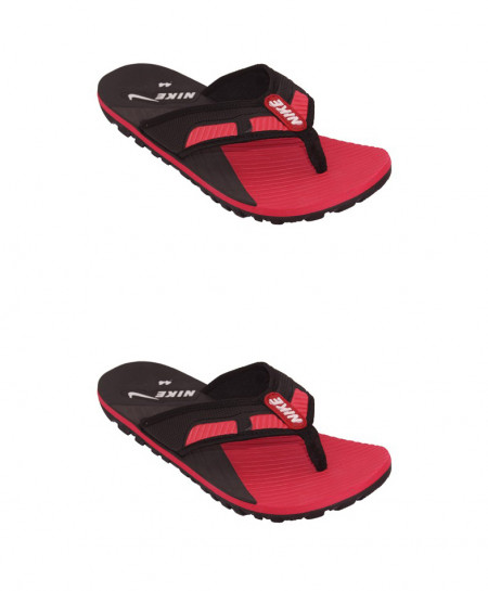 2X Black And Red Stripes Flip Flop Slipper SN-1300