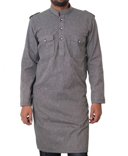 Stylish Double Pocket Striped Kurta