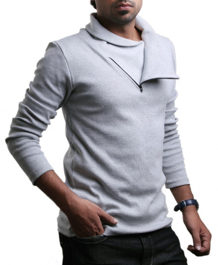 Grey Pannel Zipper Sweat Shirt