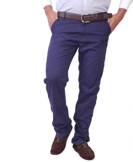 Fit Cotton Royal Blue Casual Pants