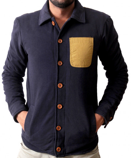 Khaki Pocket Navy Blue Cardigan Style Upper Mock