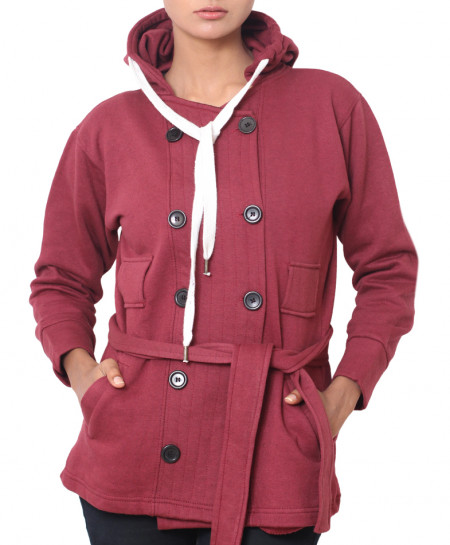 Maroon Womens Winter Fleece Coat