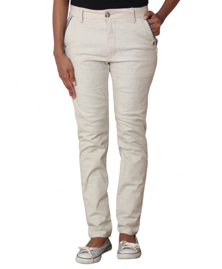 Creamy Checkered Pocket Ladies Chino Pants