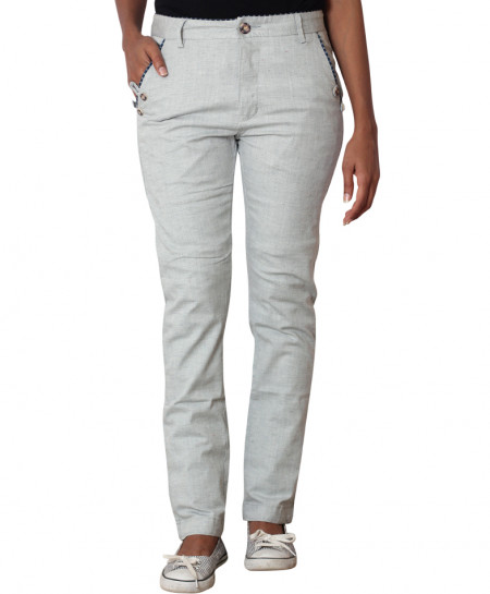 Grey Checkered Pocket Ladies Chino Pants