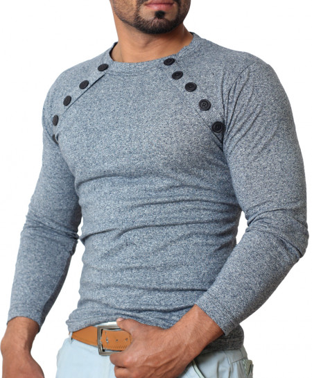 Mens Casual Full Sleeve Button Point Grey Round Neck T-shirt
