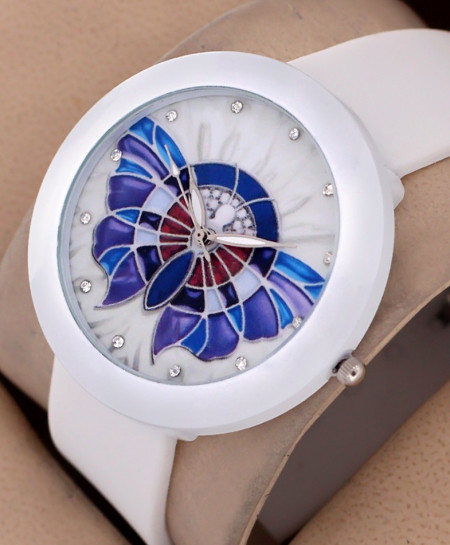 White Butterfly Print Ladies Watch