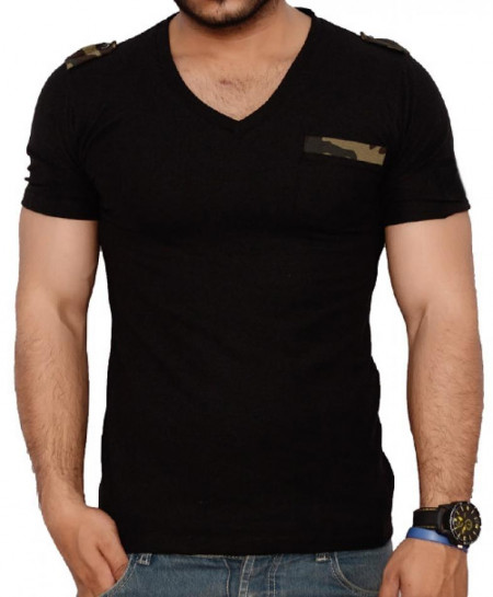 Loop Style Black V Neck Mens T-Shirt QZS-972