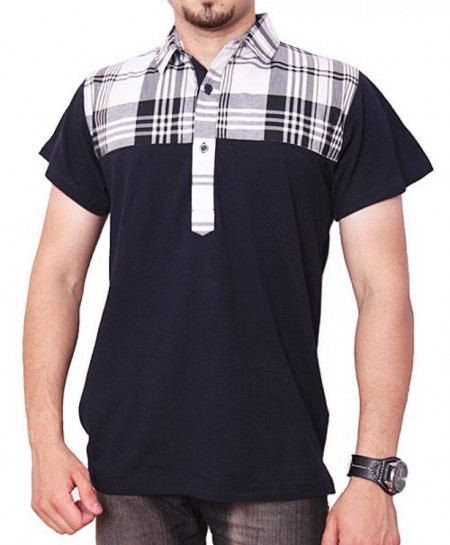 Navy Blue Half Checkered Mens Polo Shirt QZS-088