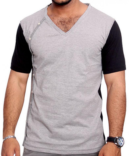 Grey Black V-Neck Side Button Style T-Shirt QZS-973