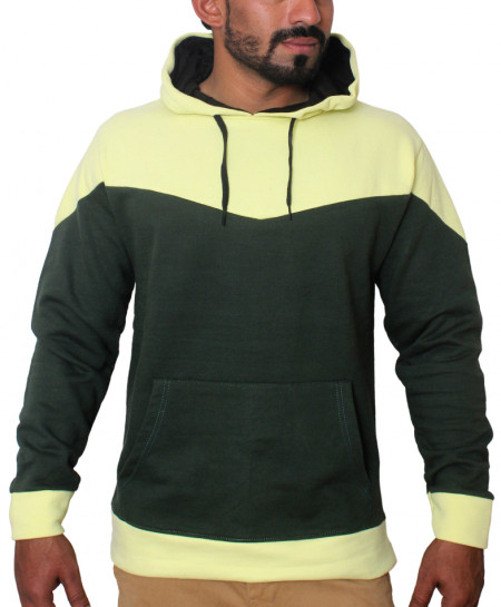 Yellow And Dark Green Dual Pannel Designer Hoodie