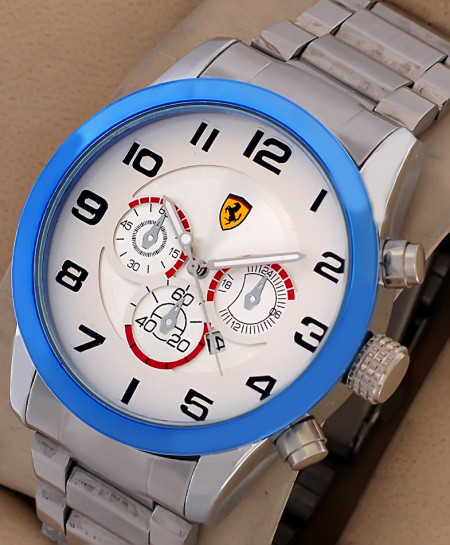 FR White Blue Dial Stylish Mens Watch