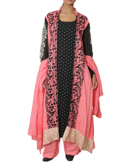 Black And Pink Embroided Gown Style Ladies Suit