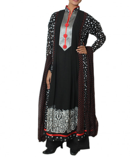 Black And Silver Contrast Polka Dots Embroidered Stitched Suit