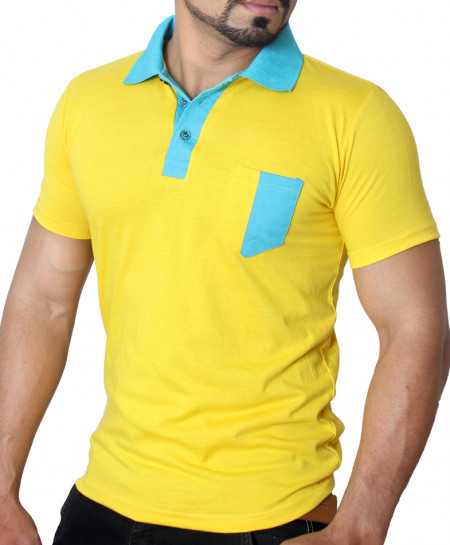 Yellow Emerald Contrast Collar T-Shirt